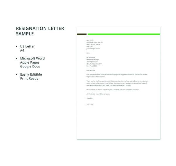 12 sample resignation letters doc pdf apple pages sample free sample resignation letter template expocarfo Image collections
