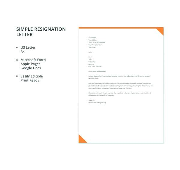 free simple resignation letter template