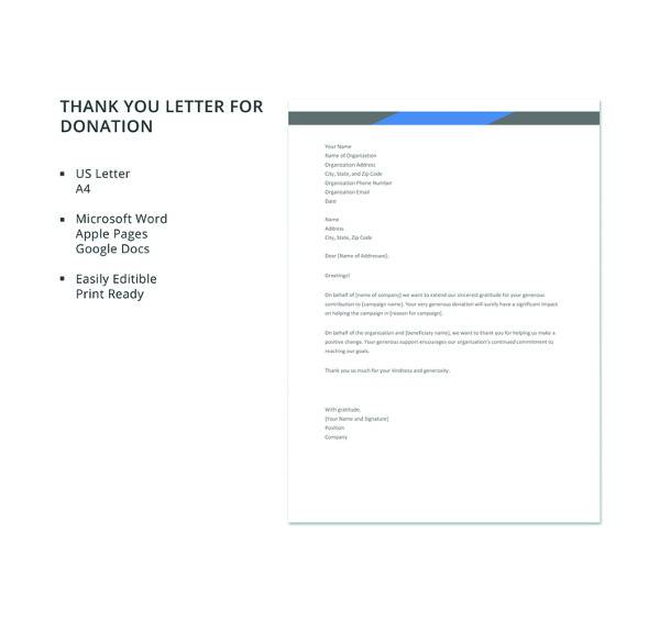 9 thank you letters for donation samples pdf doc apple pages free thank you letter for donation template spiritdancerdesigns Images