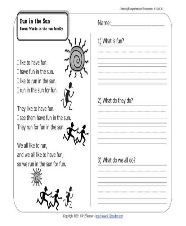 fun in the sun reading worksheet