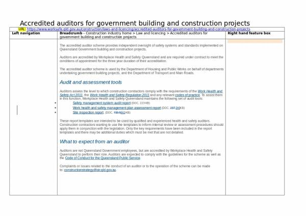 government building construction audit report template