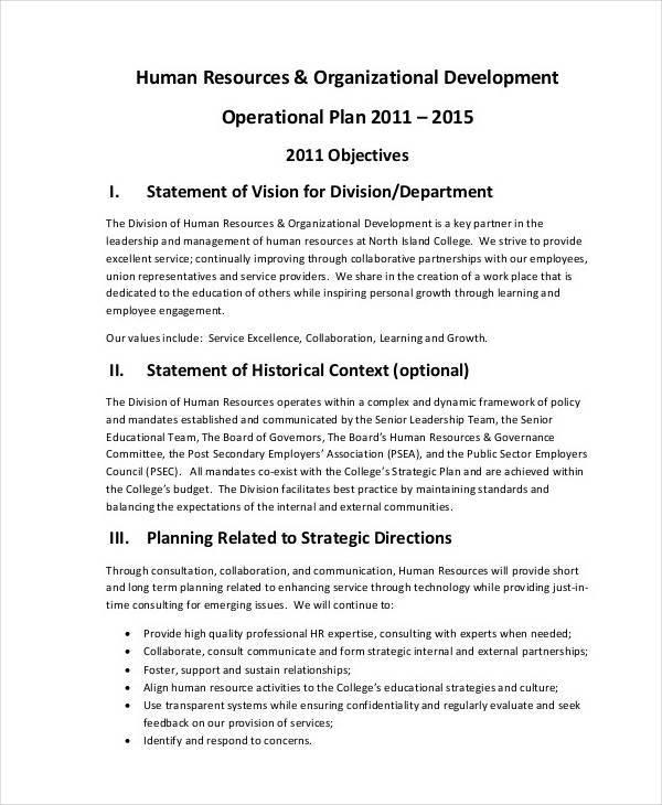 hr development operational plan