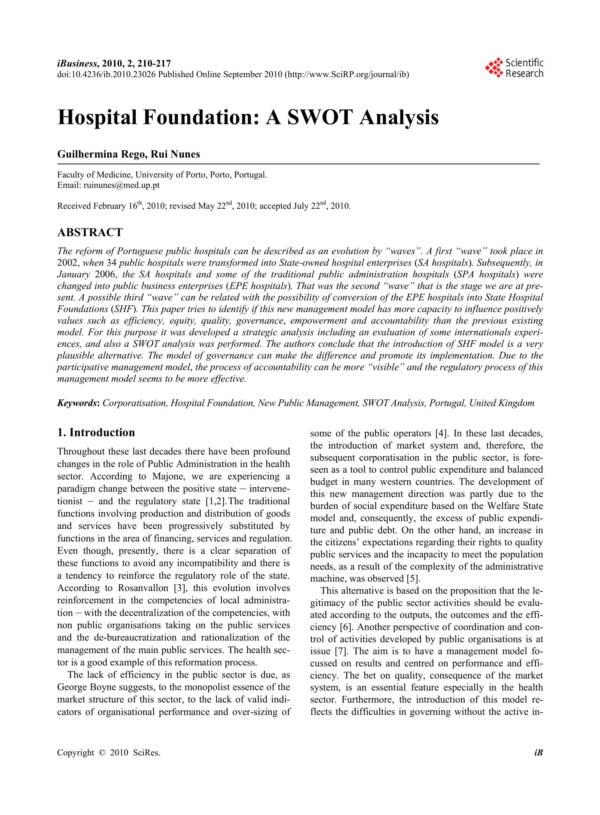 hospital foundation swot analysis 1
