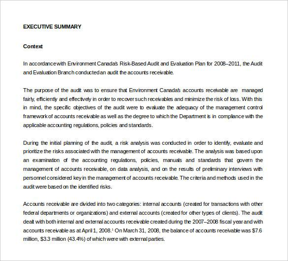 internal audit report for accounts receivable