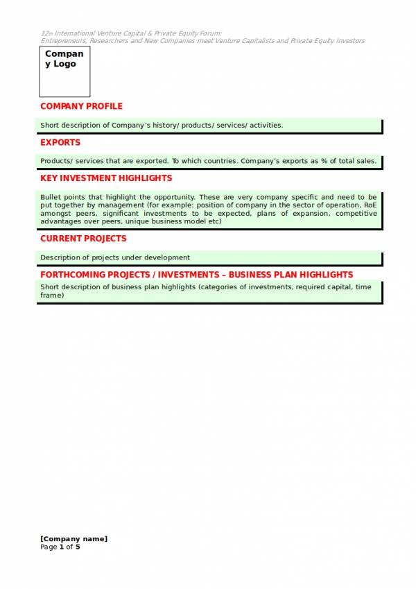 9 Small Business Investment Proposal Samples Templates Pdf