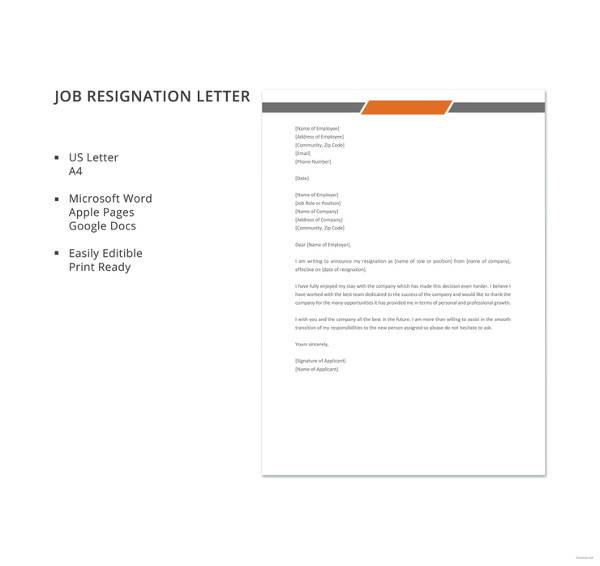 free printable company, 2 week notice, for school aide, on mac resignation letter template