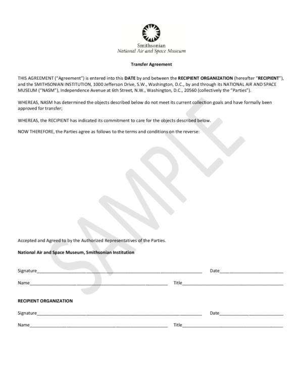 object transfer agreement sample template 001