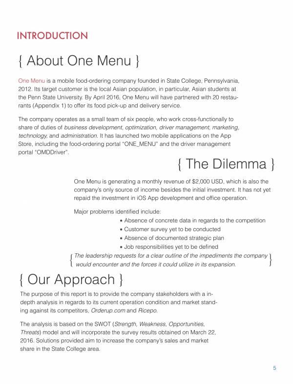 one menu swot analysis 06