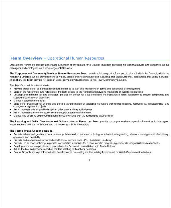 operational human resources team plan