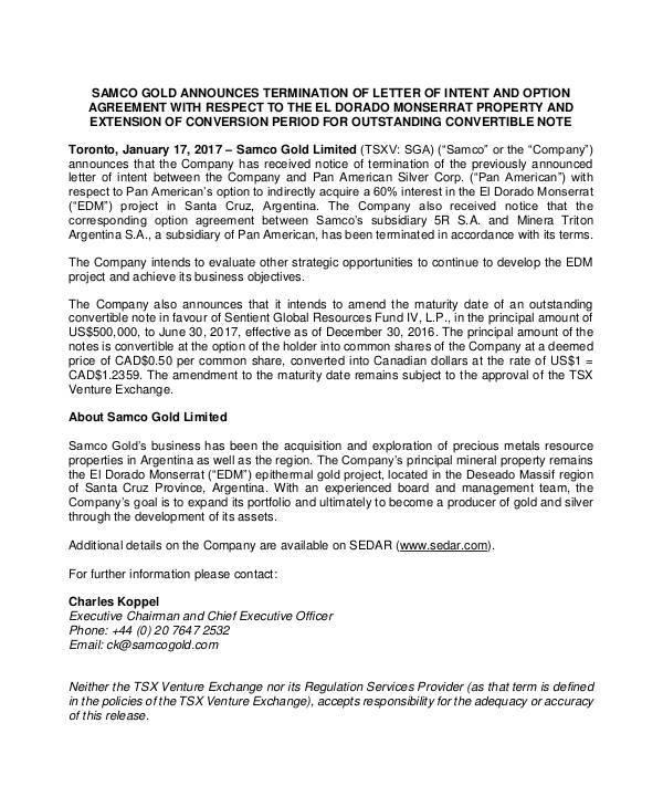 printable agreement termination letter sample