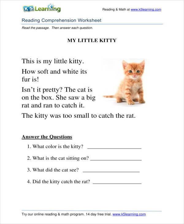 reading comprehension worksheet for beginners