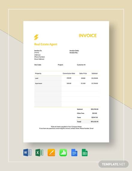 real estate agent invoice template