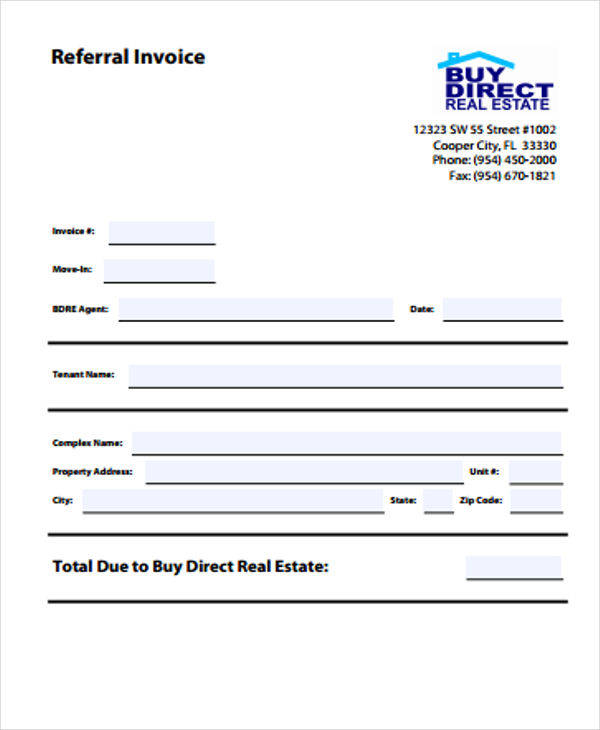 real estate referral invoice template