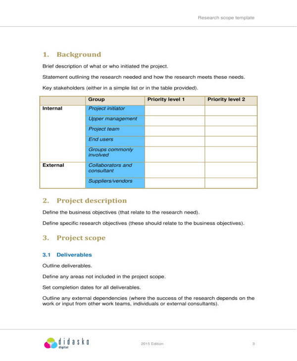 research scope statement template