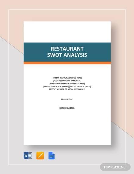 restaurant swot analysis template