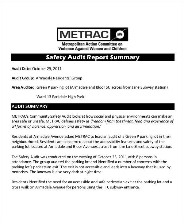 Safety Audit Summary Report Template