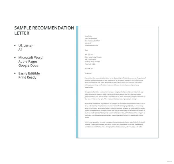 27+ Letter of Recommendation In Word Samples | Sample Templates