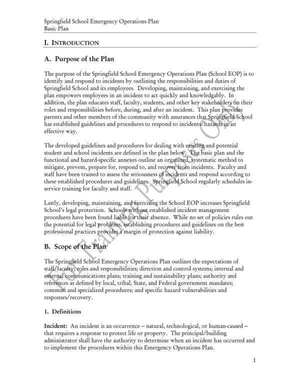 sample school emergency operations plan 09