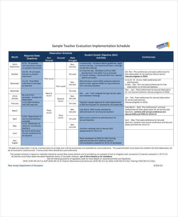 sample teacher evaluation implementation schedule