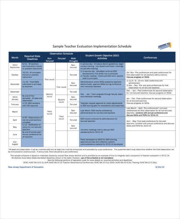 sample-teacher-evaluation-implementation-schedule