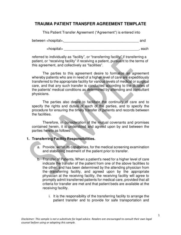 sample trauma patient transfer agreement template 001