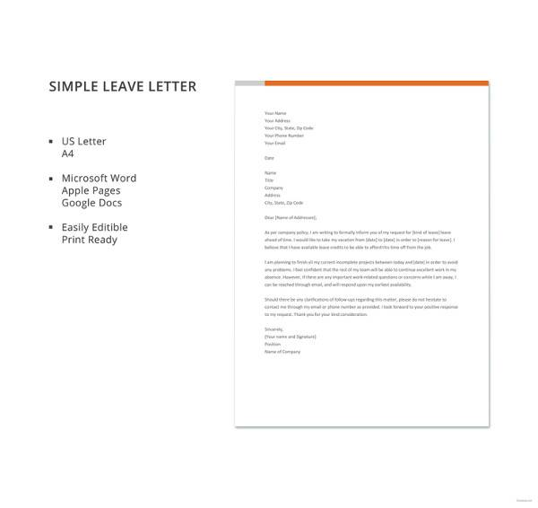 42 leave letter samples pdf word apple pages sample templates simple leave letter template spiritdancerdesigns Gallery