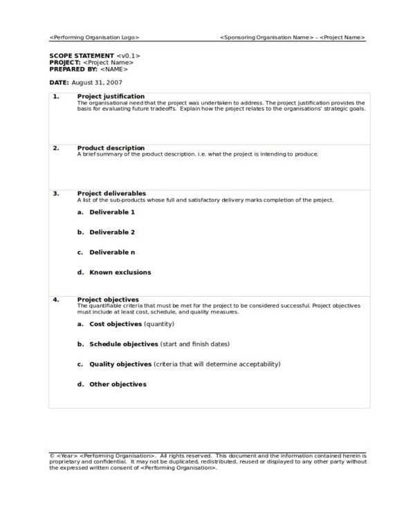 simple project scope template