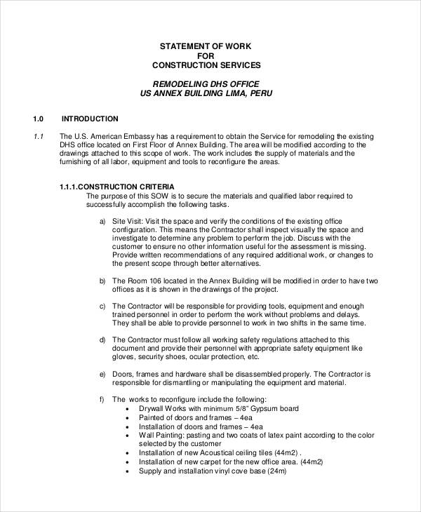 statement of work for construction services