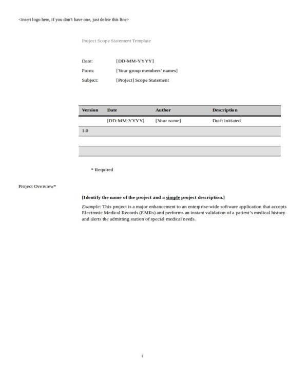 student project scope statement template