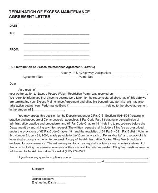 termination of excess maintenance agreement letter