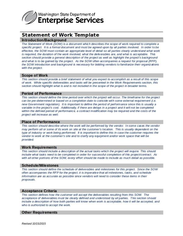 washington state statement of work template