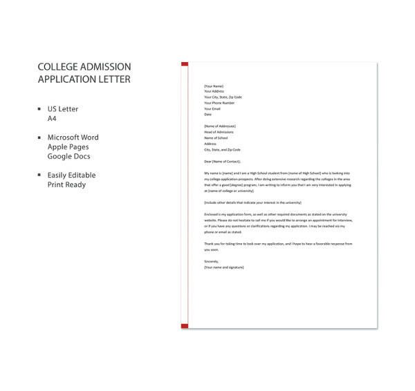 college admission application letter