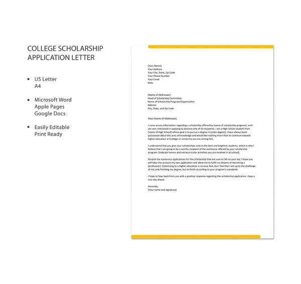 college scholarship application letter