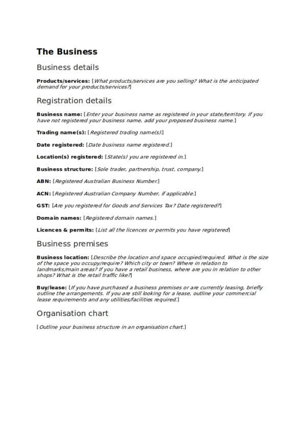 editable business operational plan template