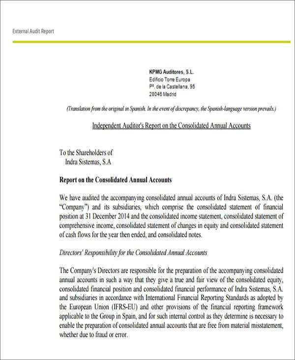 exceptionnel Editable External Audit Report Format