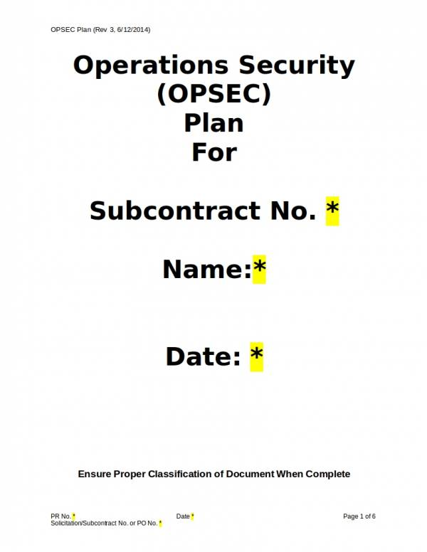 editable operations security plan