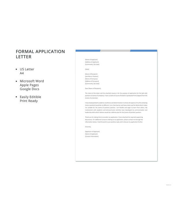 formal application letter format