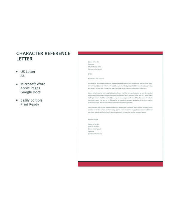 12 sample character reference letters pdf word pages google docs
