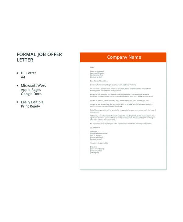 free 15  sample job offer letters in pdf