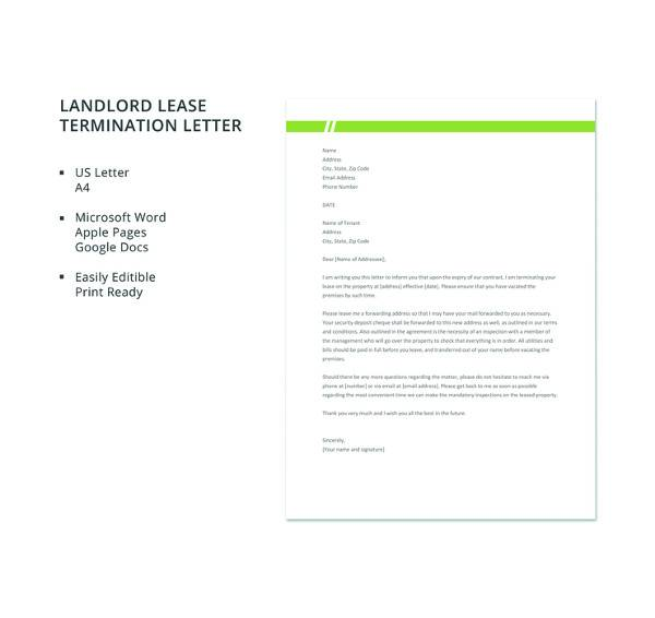 6 sample landlord lease termination letters pdf word apple