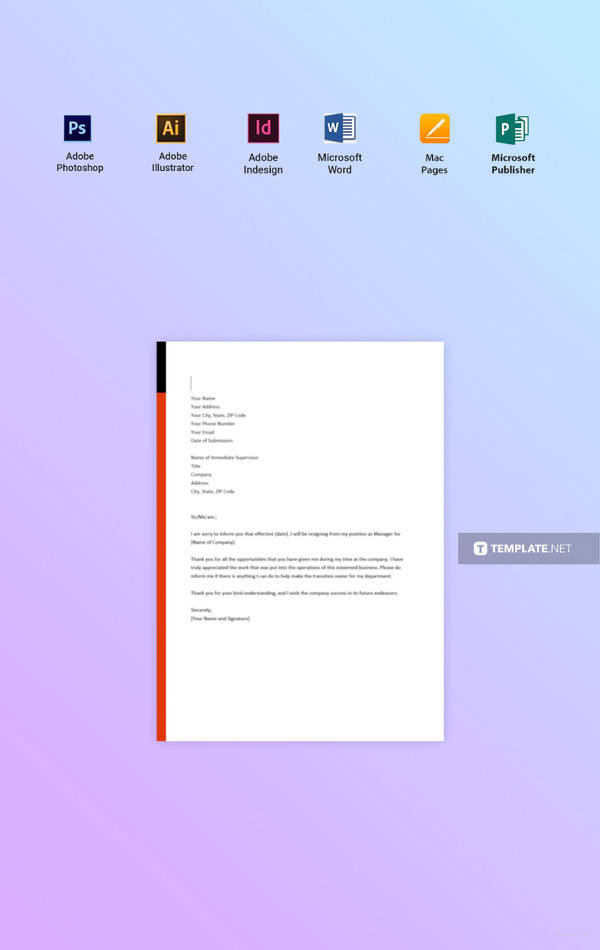 Free Manager Resignation Letter Template 7 Sample