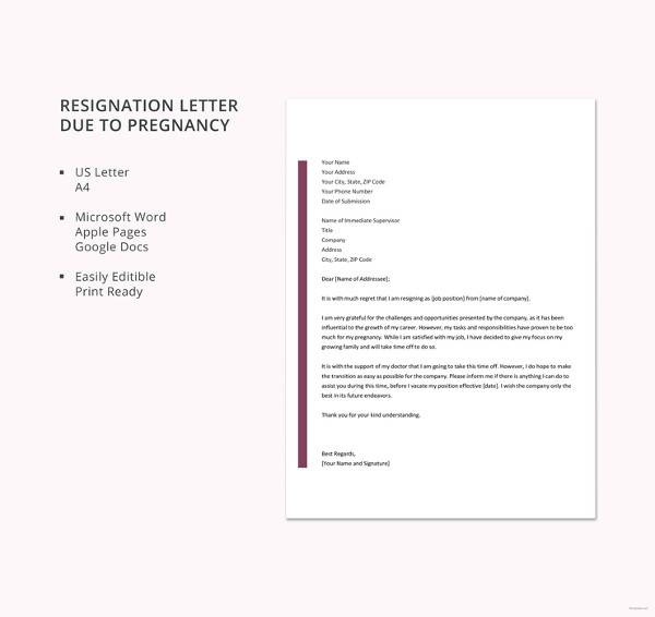 free resignation letter template due to pregnancy