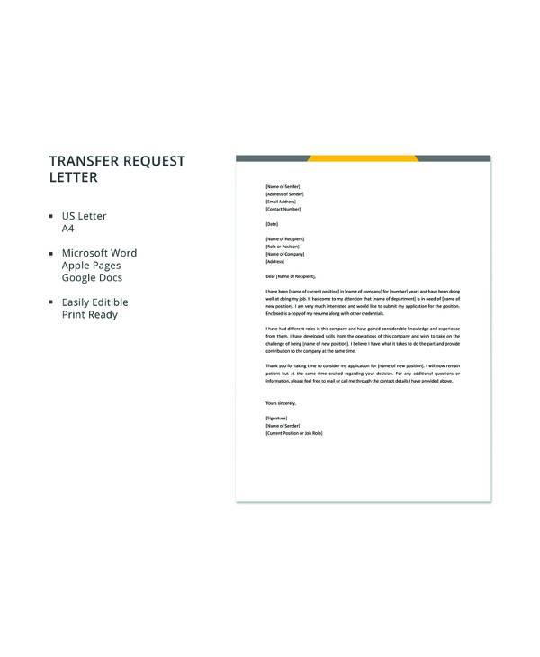 9 sample transfer request letters pdf word apple pages google free transfer request letter template spiritdancerdesigns Images