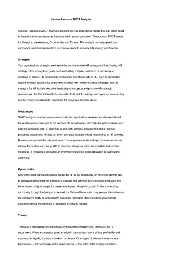 14 hr swot analysis samples templates pdf word sample templates human resource swot analysis template cheaphphosting Gallery