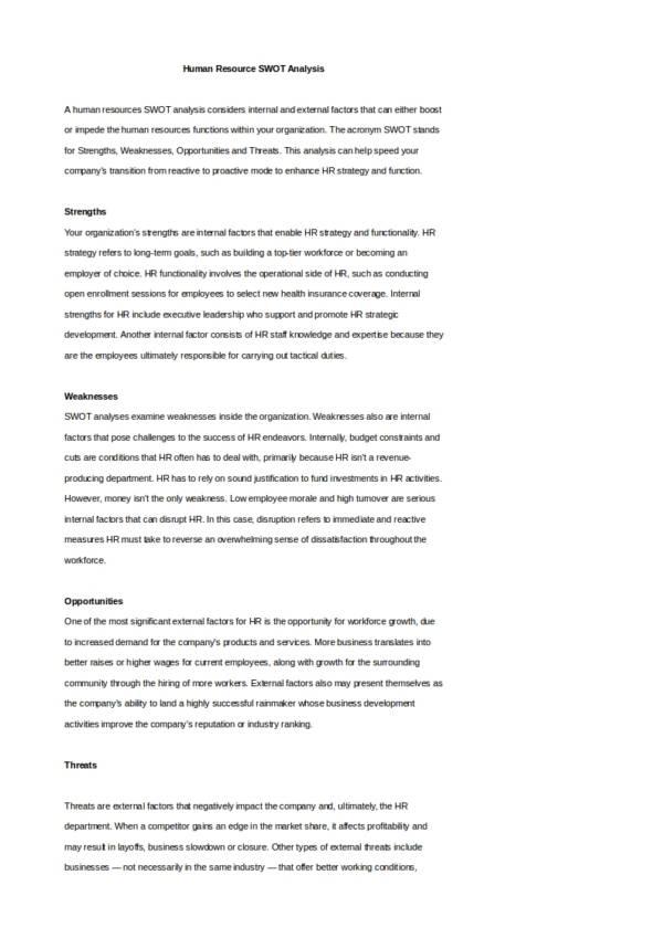 human resource swot analysis template