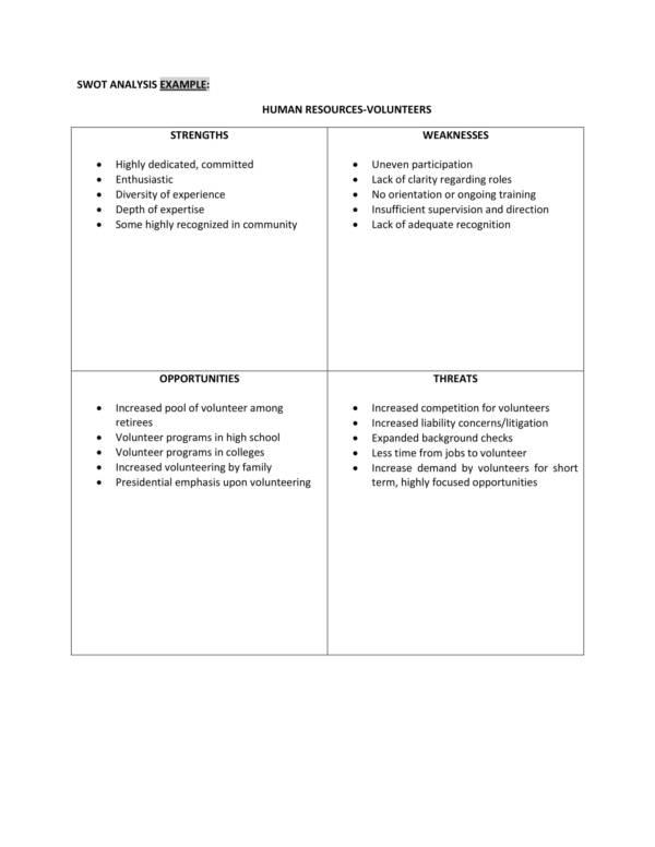 human resources volunteers swot analysis 1