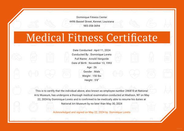 18 Sample Medical Fitness Certificates Psd Illustrator