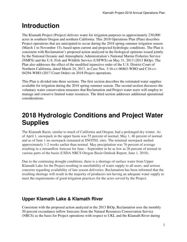 reclamation project operational plan 3