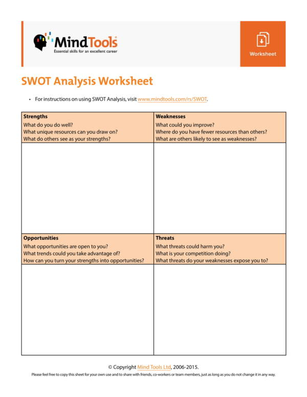 swot analysis worksheet template 1