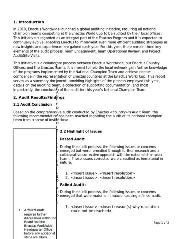 sample audit report outline